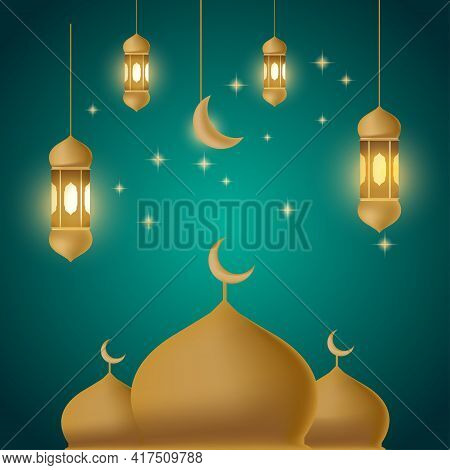 Ramadan Kareem Background With Dome Mosque In Month Of Ramadan Vector Illustration