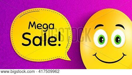 Mega Sale. Easter Egg With Smile Face. Special Offer Price Sign. Advertising Discounts Symbol. Easte