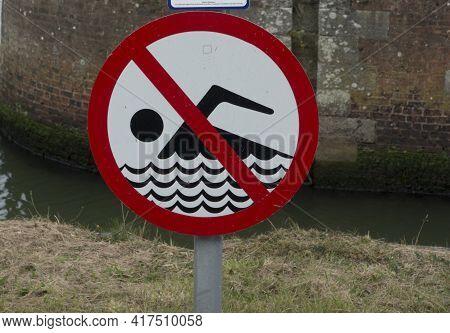 Bathing Ban Or Swimming Ban Sign