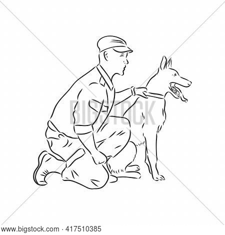 Man Cartoon Character Giving Command Or Order To His Dog, Sketch Vector Illustration Isolated On Whi