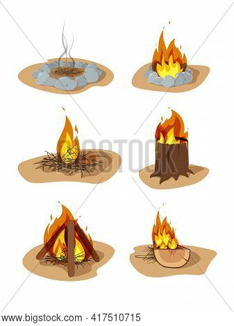Wood Campfire Set. Creative Colorful Wood Campfire Flat Illustration Set. Cartoon Bright Various Bon