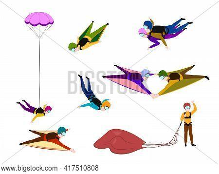 Parachuting Icons Set. Cartoon Set Of Parachuting. Extreme Sport. Young Wingsuit Jumper. Active Recr