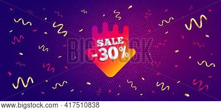 Sale 30 Percent Off Sticker. Festive Confetti Background With Offer Message. Discount Banner Shape.