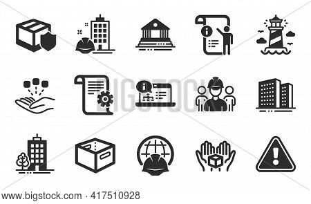 Global Engineering, Skyscraper Buildings And Delivery Insurance Icons Simple Set. Buildings, Court B