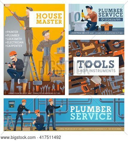 House Repair Services Workers, Tools Shop Vector Banner. House Masters Painting Wall, Renovating Roo