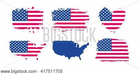 United States Of America Grunge Flag Set. Usa Brush Stroke And Heart Shape Textured Flag, Usa Vector