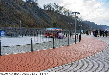 Svetlogorsk, Kaliningrad Region, Russia. November 4, 2020. Children's Walking Train. Wagons For The