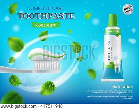 Toothpaste, Toothbrush And Mint Leaves Vector Promotion Poster. Realistic 3d Tube Of Dental Care Too