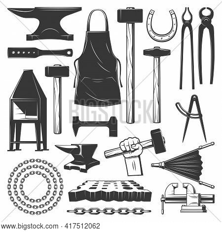 Blacksmith Metalwork Workshop Tools Vector Icons. Sledgehammer, Chain And Horseshoe, Anvil, Apron An