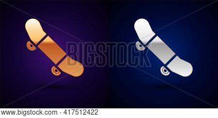 Gold And Silver Skateboard Trick Icon Isolated On Black Background. Extreme Sport. Sport Equipment.