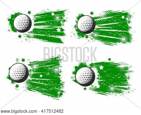 Golf Balls Vector Grunge Banners. Sport Club, Sporting Competition, Tournament. White Balls Of Golf