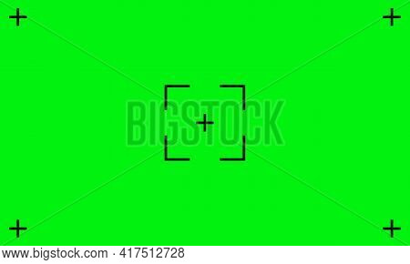 Green Chroma Screen Background. Vfx Motion Tracking Markers. Art Design Green Screen Backdrop Templa