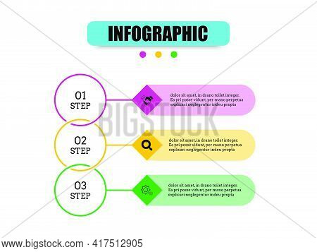 Circles Together Are Chain And Squares Come Together To Presents Three Steps. Vector Design Presenta