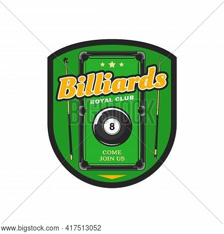 Billiard, Pool Club Vector Icon, Black Ball With Number Eight And Cues On Green Playing Field. Sport