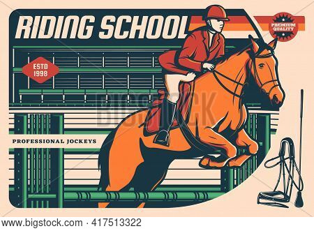 Horse With Jockey Jumping Over Hurdle. Equestrian Sport, Riding School, Dressage And Jumping Show Ve