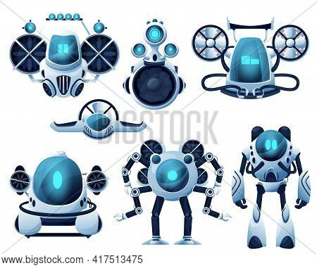 Underwater Robot And Rov Cartoon Characters. Vector Robot Bathyscaphe And Submarine, Autonomous And