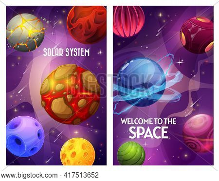 Space And Planets, Fantasy Galaxy Sky And Universe, Vector Cartoon Game World Of Aliens. Space Futur