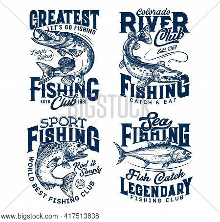 Fishing Club T-shirt Prints, Sea Fish On Rod Hook, Fishers Tee Vector Icons. Ocean Tuna Big Catch, R