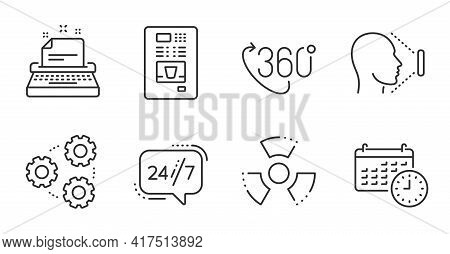Calendar, 360 Degree And Chemical Hazard Line Icons Set. Typewriter, 24h Service And Gears Signs. Fa