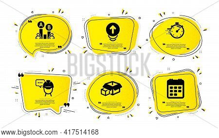 Foreman, Timer And Ab Testing Icons Simple Set. Yellow Speech Bubbles With Dotwork Effect. Packing B