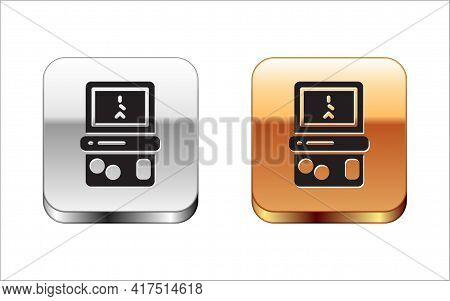 Black Portable Tetris Electronic Game Icon Isolated On White Background. Vintage Style Pocket Brick