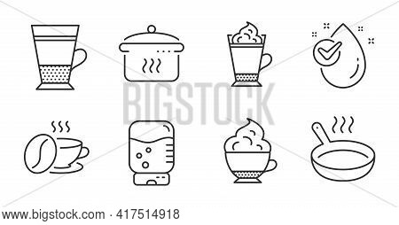 Latte Coffee, Boiling Pan And Water Drop Line Icons Set. Cappuccino Cream, Frying Pan And Coffee Cup