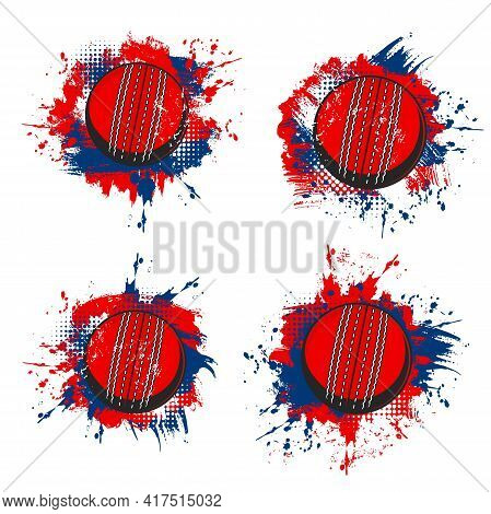 Cricket Balls, Vector Sport Equipment Grunge Banners With Red And Blue Paint Splashes, Brush Strokes