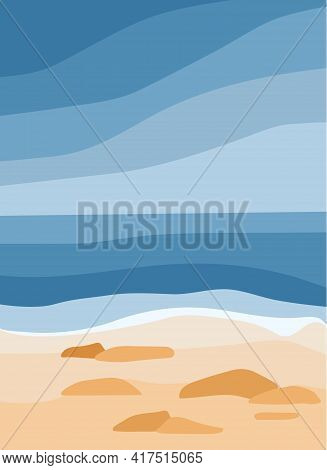 Blue Sea And Sandy Beach. Ocean Waves, Rocks On The Shore. Abstract Stylish Background With Tropical
