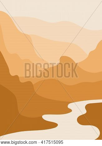Mountain River. Abstract Landscape, Minimalism. Trending Earth Colors. Save And Preserve The Nature.