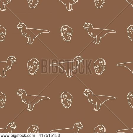 Seamless Background Carnotaurus Dinosaur With Fossil Gender Neutral Baby Pattern. Simple Whimsical M