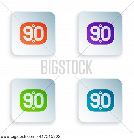Color 90s Retro Icon Isolated On White Background. Nineties Poster. Set Colorful Icons In Square But