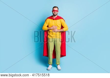 Full Length Body Size Photo Of Hero In Mantle Mask Suffering From Diarrhea Poisoning Symptoms Isolat