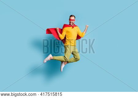 Full Length Body Size Photo Of Hero In Mantle Mask Jumping High Gesturing Like Winner Isolated On Vi