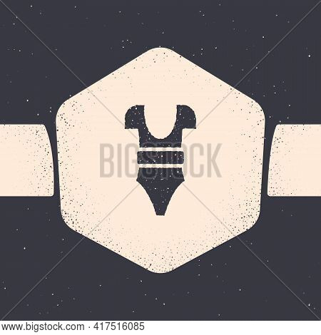 Grunge Swimsuit Icon Isolated On Grey Background. Monochrome Vintage Drawing. Vector