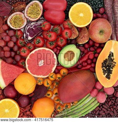 Health food high in lycopene and anthocyanins for a healthy heart with super foods also high in antioxidants,  vitamins, minerals, omega 3 and dietary fibre. With fruit, legume and vegetables.