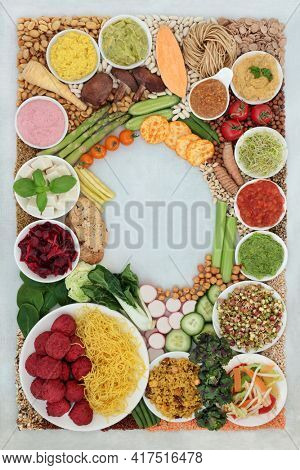 Vegan and vegetarian food for a healthy lifestyle high in antioxidants, protein, omega 3, dietary fibre, anthocyanins, smart carbs, vitamins and minerals. Health care immune boosting diet concept.