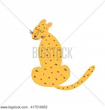 Sitting Cheetah Isolated Animal. Wild Cat. Sitting Guepard Naive Art Graphic Element. Cute Leopard.