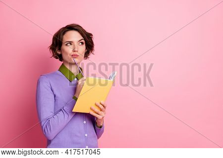 Photo Of Charming Lady Hold Organizer Writer Beginner Wear Purple Jumper Isolated Pink Color Backgro