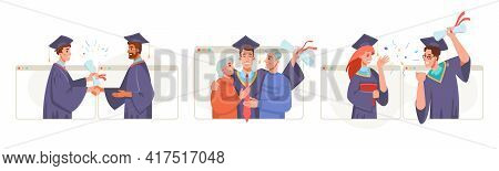 Graduate Ceremony Online Set, New Reality, Social Distance And Online Learning. Vector Graduation Vi