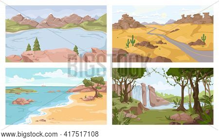 Landscapes Set. Vector Desert, Sea And River, Waterfall, Sandy Desert. Vector Mountains And Seashore