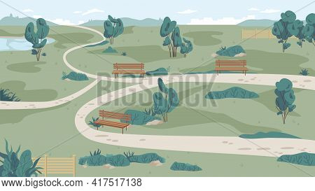 Park Landscape From Far, Cartoon Pathways. Green Grass, Bench And Trees, Path Roads, Summer Scenery