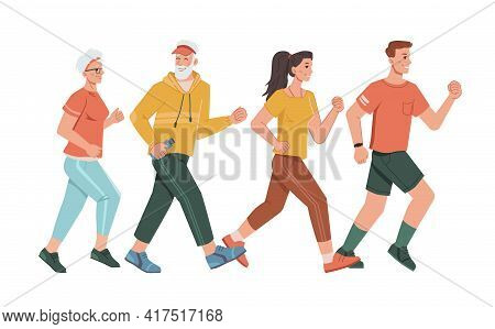 Family Parents And Grandparents Running Together Isolated Cartoon Characters. Vector Man With Fitnes