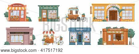 Grocery Store And Bakery, Mobile Coffee Kiosk On Bike, Cafe Restaurant And Hair Salon Barbershop, Fl