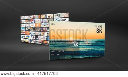 8k Resolution Display With Comparison Of Resolutions. Tv Screen Panel Conceptual Graphic