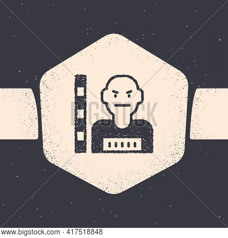 Grunge Suspect Criminal Icon Isolated On Grey Background. The Criminal In Prison, Suspected Near The