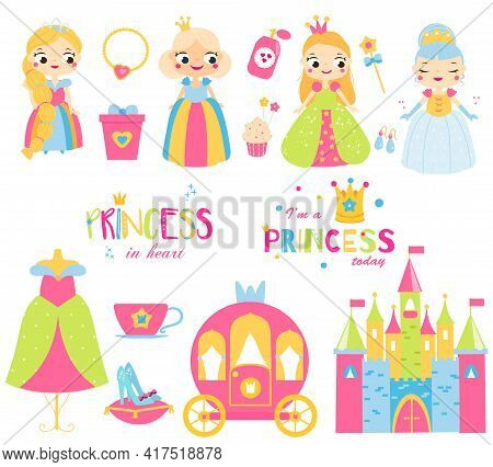 Princess Set. Cartoon Cute Fairies Girls, Castle, Dress, Shoes And Other Fairy Symbols For Kids Game