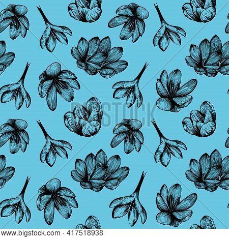 Saffron Seamless Pattern. Crocus Flower On A Blue Background Pattern