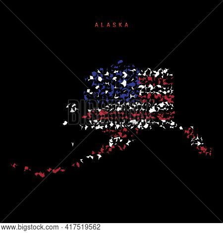 Alaska Us State Flag Map, Chaotic Particles Pattern In The Colors Of The American Flag. Vector Illus