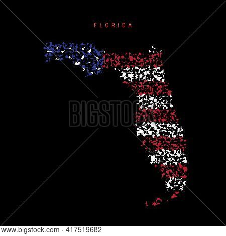 Florida Us State Flag Map, Chaotic Particles Pattern In The Colors Of The American Flag. Vector Illu
