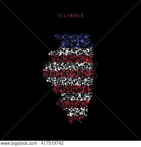 Illinois Us State Flag Map, Chaotic Particles Pattern In The Colors Of The American Flag. Vector Ill